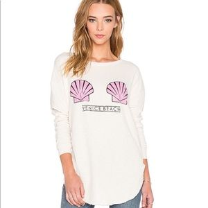 Wildfox Venice Beach Shells Distressed Sweatshirt